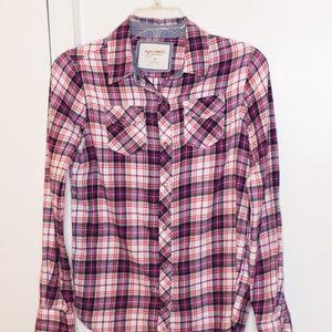 Arizona Jeans Pink Purple Plaid Flannel Shirt XS
